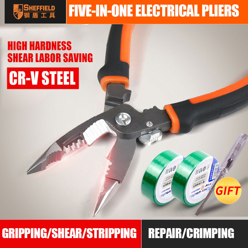 SHEFFIELD 8 Inches 5 In 1 Pliers Multifunctional Electrician Needle Nose Pliers Wire Stripping Cutter Crimping Pliers S035057