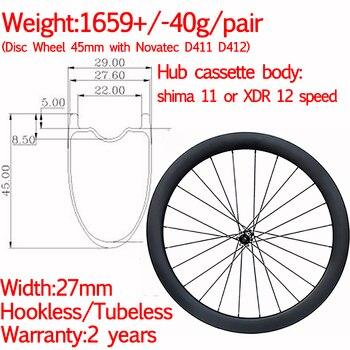 Superlight breite 29mm hookless carbon rennrad disc räder 45mm tubeless keramik kies räder vorne 12X 100 hinten 12x142-in Fahrrad-Rad aus Sport und Unterhaltung bei