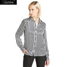 LILYSILK Shirt Blouse Women Feminine Silk 22MM Black and white Stripes Ladies Clearance Sale Free Shipping(China)