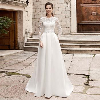 Eleganckie suknie ślubne suknie z kieszeniami długie rękawy O-neck koronkowe satynowe suknie ślubne suknia dla panny młodej Vestido De Novia tanie i dobre opinie ADLN Pełna Satin NONE Długość podłogi Lace up REGULAR Aplikacje Backless 4000173342767 Naturalne -Line Wedding Dresses