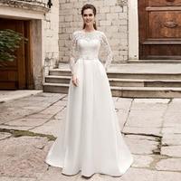 Elegant Wedding Dresses with Pockets Long Sleeves O neck Lace Satin Wedding Gowns Bride Dress Vestido De Novia