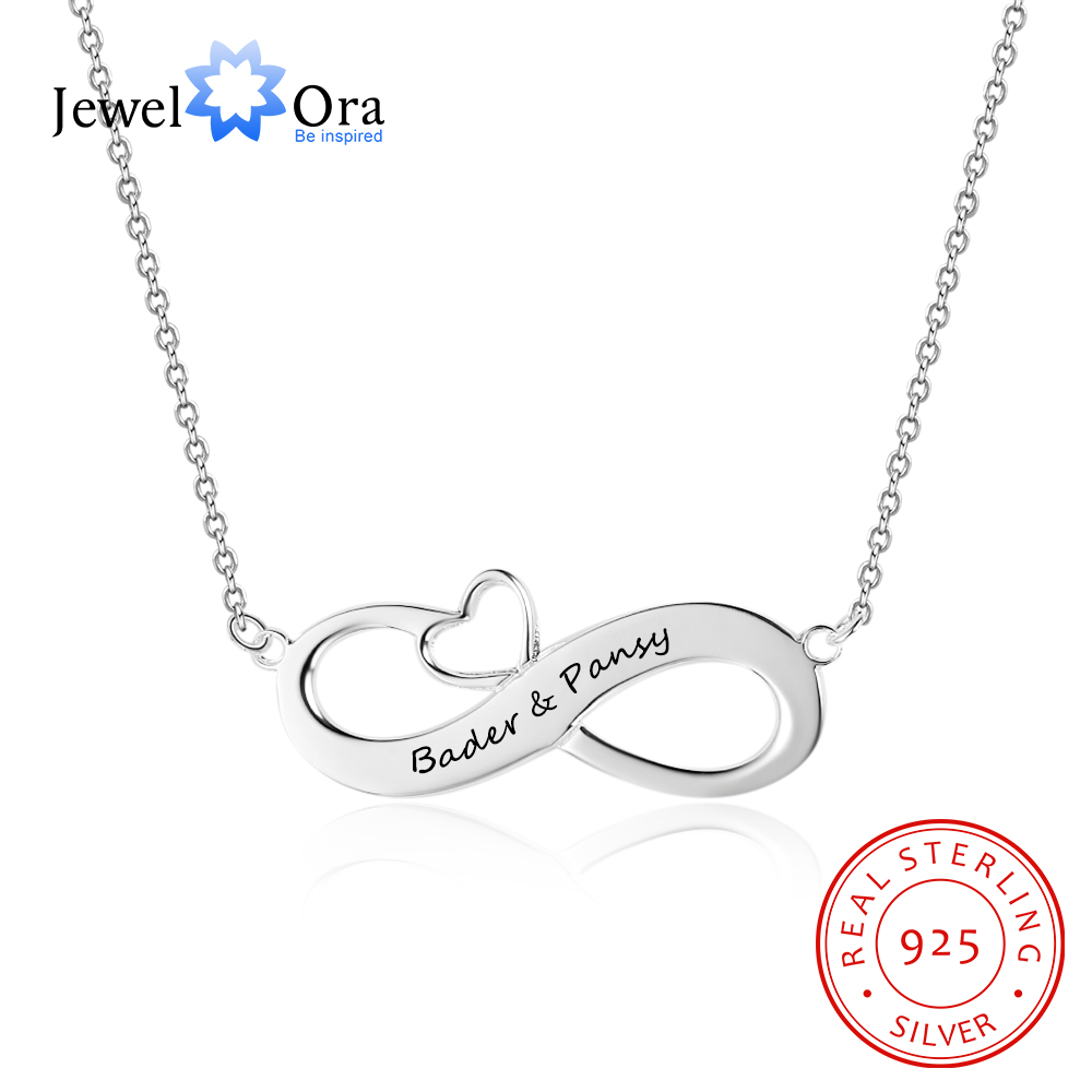 Infinity with Heart Sterling Silver Necklace Custom Design NEW Adjustable Length