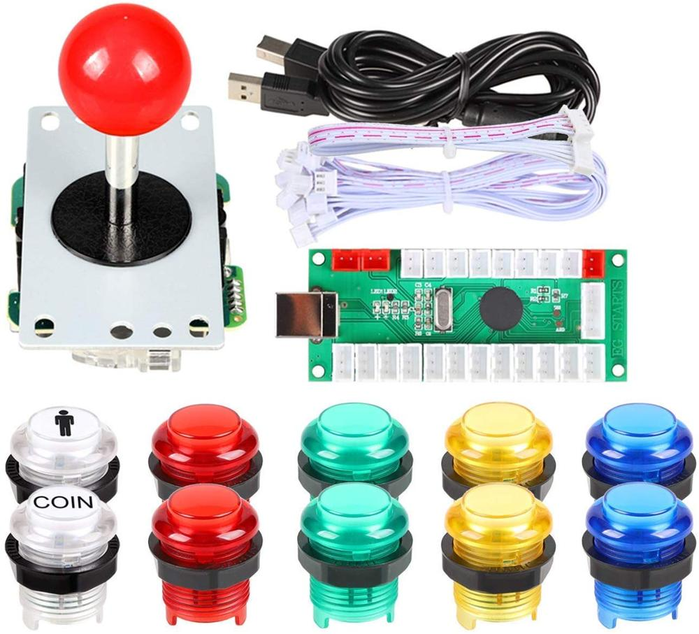 Arcade Buttons 1 Player DIY Kit Joystick 5V LED Arcade Button For Arcade Stick PC Games Mame Raspberry Pi