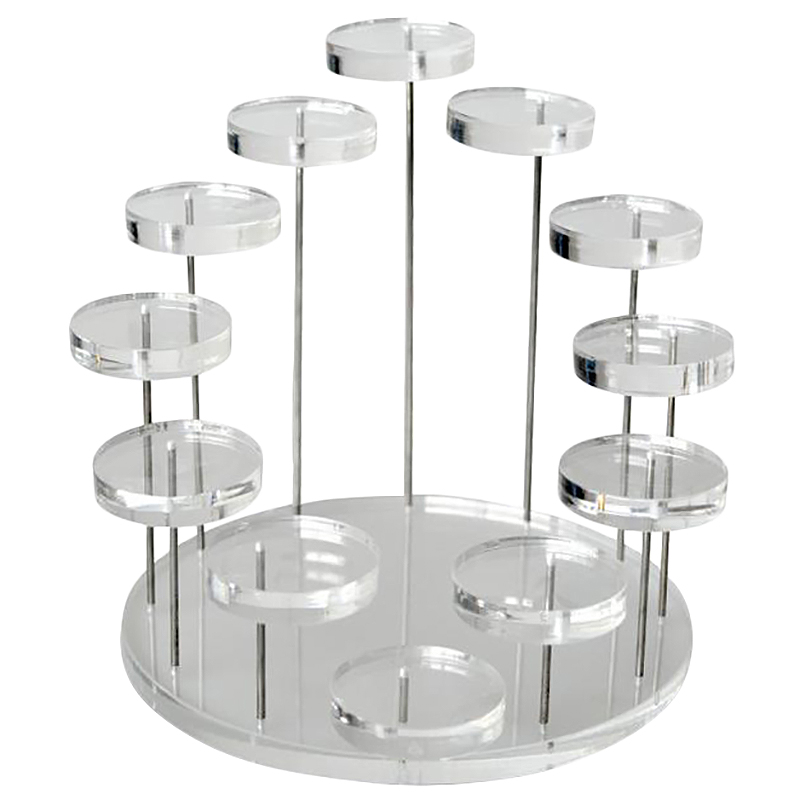 Fashion Multi-Layer Acrylic Ring Display Rack Earring Holder Pendant Gemstone Showcase Jewelry Display Stand Desktop Transparent