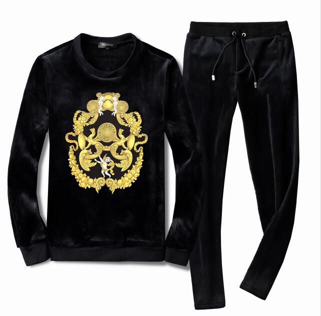 Men's Velour Velvet Sport Sweatshirt Tracksuit Track Suit Outwear 2PC Jacket Coat Pants Trousers Sets Outfits Floral