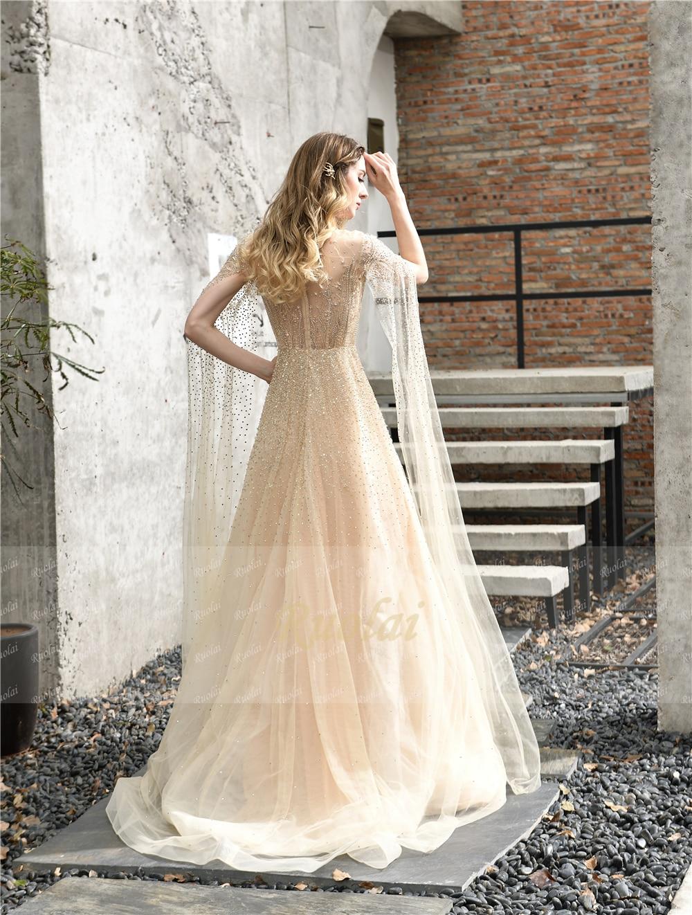 82385 schöne Glänzende Schwere Perlen mit Langarm Watteau Zug Sehen durch Illusion Formale Party Abendkleid Lange Kleider - 2