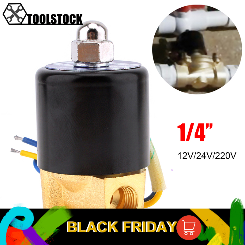 Solenoid Valve DC 12V 1/4'' Electric Valve Brass Water Solenoid Valve Normally Closed Valve For Water Oil Air Diesel-Gas Fuels