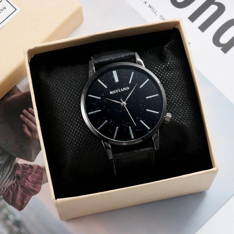 Rich Tree Fashion Simple Scale Men's Watch Luxury Brand Belt Watch Night Starry Dial Boy Black Watch White Watch Couple Watch