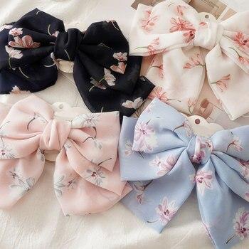 Pinzas de pelo de acero con lazo de gran tamaño, pasadores con estampado Floral de 3 capas, coleta mujer elegante, horquillas para niñas, accesorios para el cabello