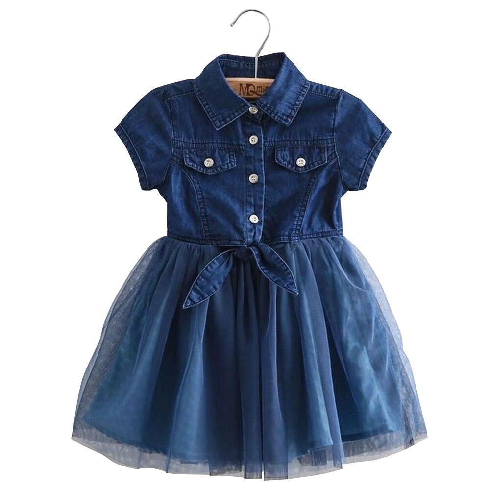 Princess Baby Girls Dress Kids Jean Denim Sleeveless Tops Tulle Tutu Sundress