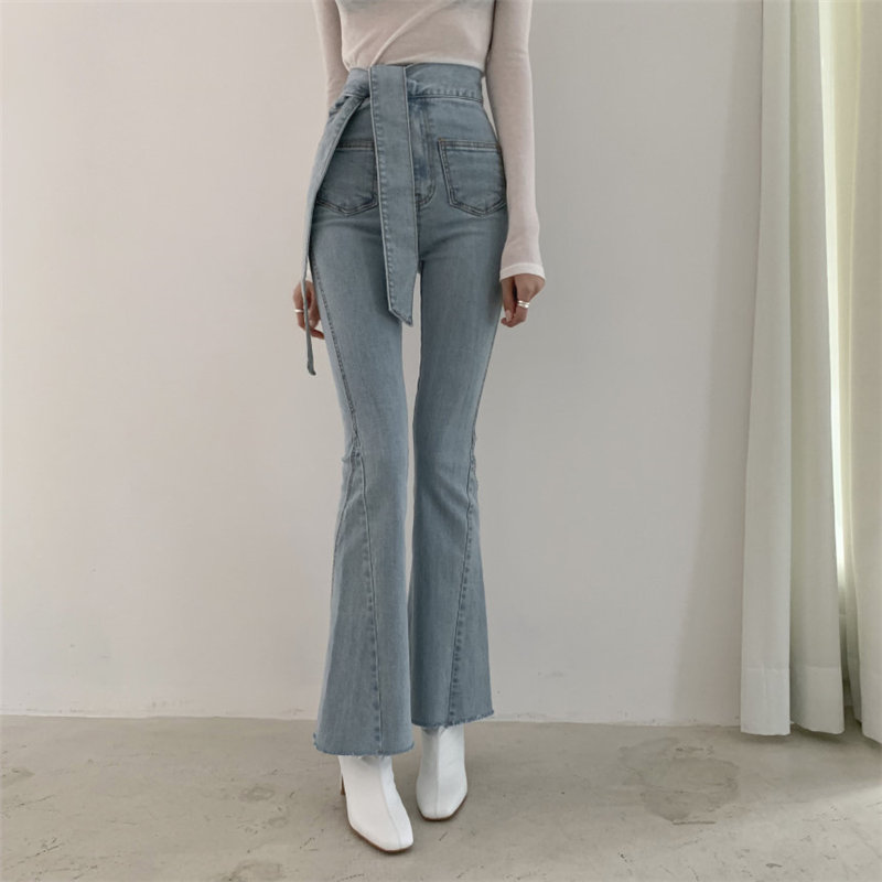 Alien Kitty 2020 Stylish High Waist Fresh Jeans Cowboy Patchwork Denim Flare Pants Women Loose Elastic Casual Light Plus Pants