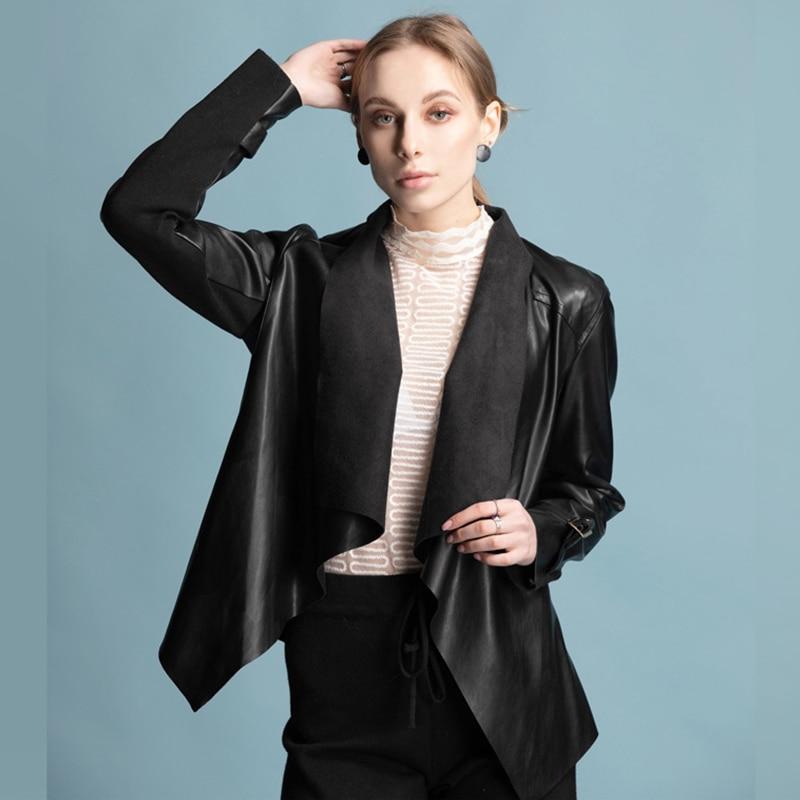 Siskakia Quality PU   Leather   Jacket Women Punk Styler Cool Jackets Moto Biker Open PU Coat Black Thin Ruffles Cut Autumn 2019 New