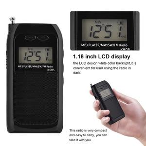 Image 5 - K605 Mini Tasche Radio STEREO FM AM SW MW Digitales Tuning Radio Empfänger MP3 Musik Player Akku Tragbare Radio