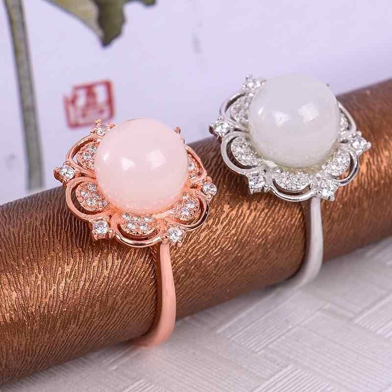 MeiBaPJ ธรรมชาติหยกแหวนเงินแท้ 925 Fine เครื่องประดับงานแต่งงาน
