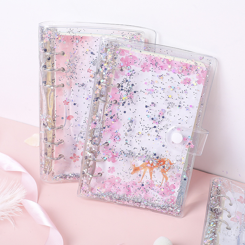 A6 Pvc Transparent Glitter Liquid Cute Paper Notebook  Paper Notepad To Do List Planner Diary Notebook For School Student Supply