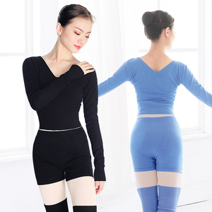 Image 2 - 新スタイルの女性バレエダンススーツ 2 個セーターショートパンツとトップス秋冬暖かい大人ニットダンスの衣装バレエ