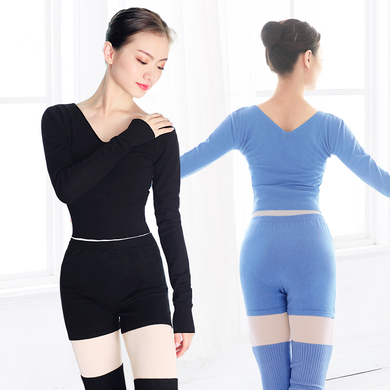 New Style Women Ballet Dance Suit 2 Pieces Sweater Tops with Shorts Autumn Winter Warm Adult Knit Dance Costumes for Ballet