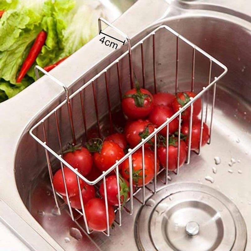Stainless Steel Sink Household Drain Gadget Kitchen Storage Basket