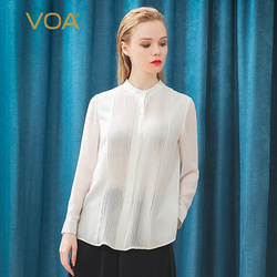 VOA Silk 34 mmmi Heavy Layer Joe Semi-high Neck bump tuck stitching Joe's shirt sleeve open white shirt B9286