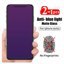 Anti-azul fosco-luz de vidro temperado para iphone 11 12 pro max 12 mini xs xr x protetores de tela de vidro fosco para iphone 8 plus