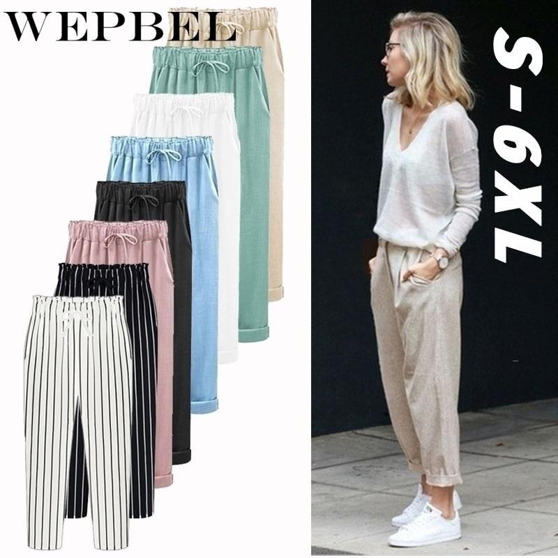 WEPBEL Cropped Pants New Women's Trousers Cotton Linen Hip Hop Loose Harem Pants Plus Size S-6XL