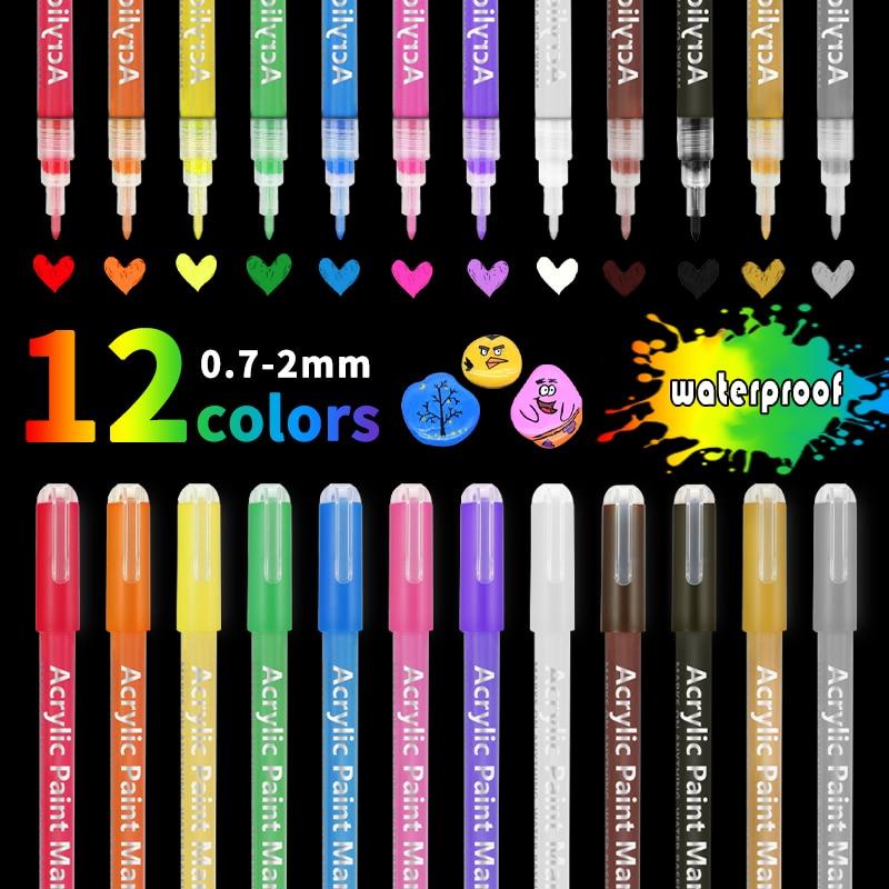 Набор акриловых ручек, маркеры для рисования камнями, дешевые художественные маркеры, 12 цветов, Fineliner 0,7 мм, перманентные Детские маркеры для...