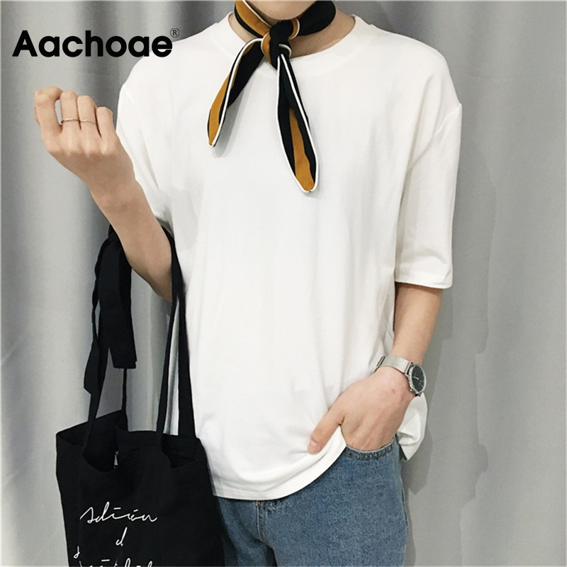 Aachoae Women Solid Casual T Shirt Spring Summer 2020 Short Sleeve Loose Basic Tee Tops Ladies Harajuku O Neck T-shirt Plus Size 1