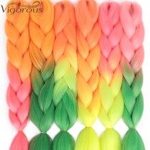 Энергичные 24 дюймовые пучки кос-жгутов длинные, радужной расцветки синтетические косички для наращивания волос яки косички волосы блонд красный розовый