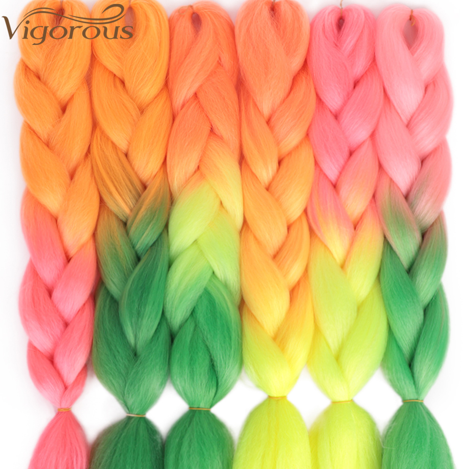 Vigorous 24Inch Jumbo Braid Hair Long Ombre Jumbo Synthetic Braiding Hair Extensions Yaki Braiding Hair Blond Red Pink