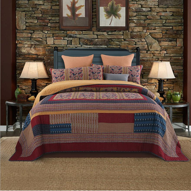 1 Pc Bed Cover+2pcs Pillowcases Khaki Red Blue Quilt Luxury Splicing Bedspread Retro Style Blanket Doublebed Home Textile Cotton