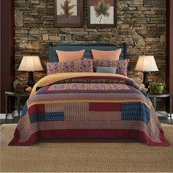 1 Pc narzuta + 2 sztuk poszewki na poduszki Khaki czerwony niebieski kołdra luksusowe łączenie narzuta w stylu Retro koc Doublebed tekstylia domowe bawełna w Narzuta od Dom i ogród na