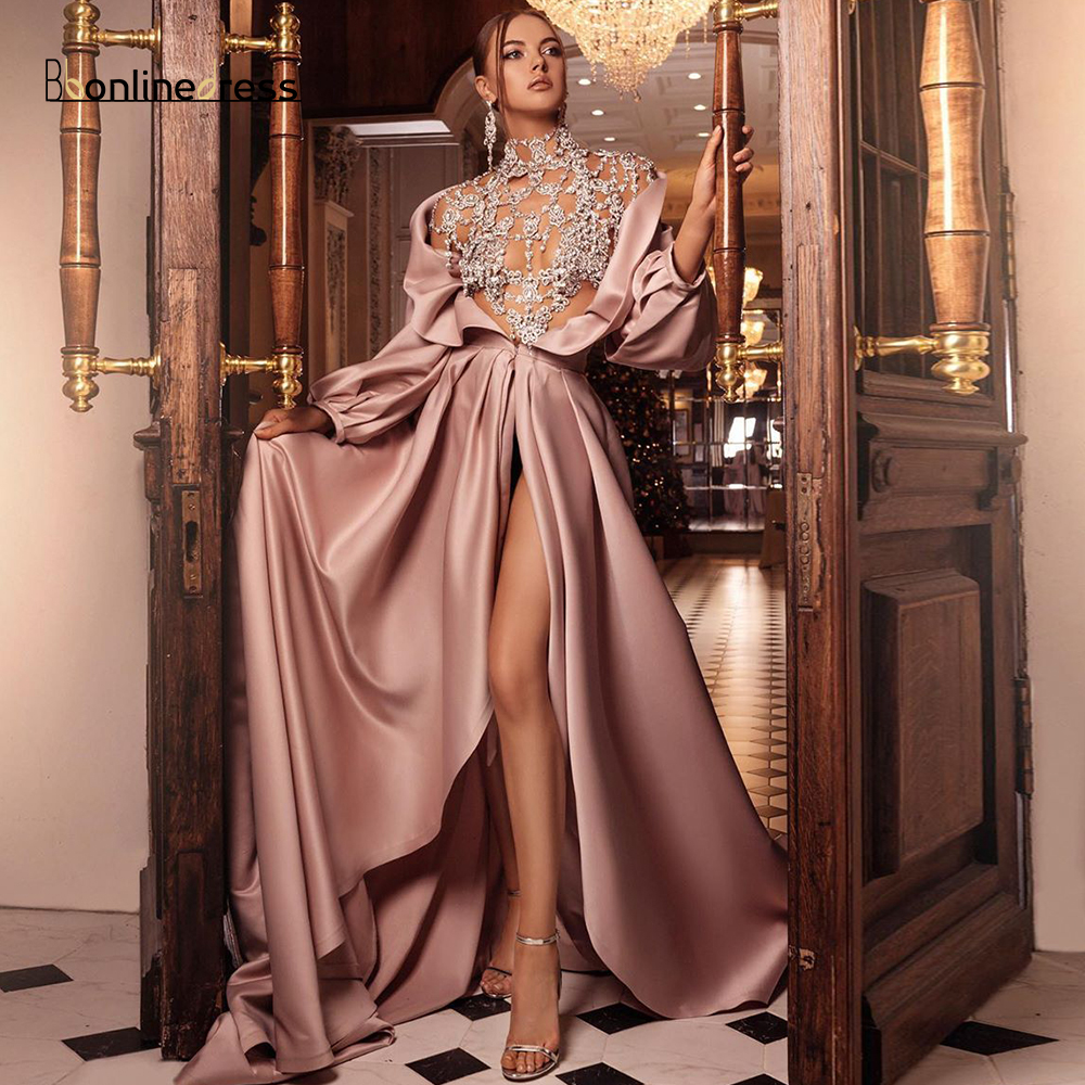 Bbonlinedress Charming Evening Dresses Satin Lace Embroidery Long Evening Dress Sleeve Beaded Formal Party Gown Robe-de-soiree