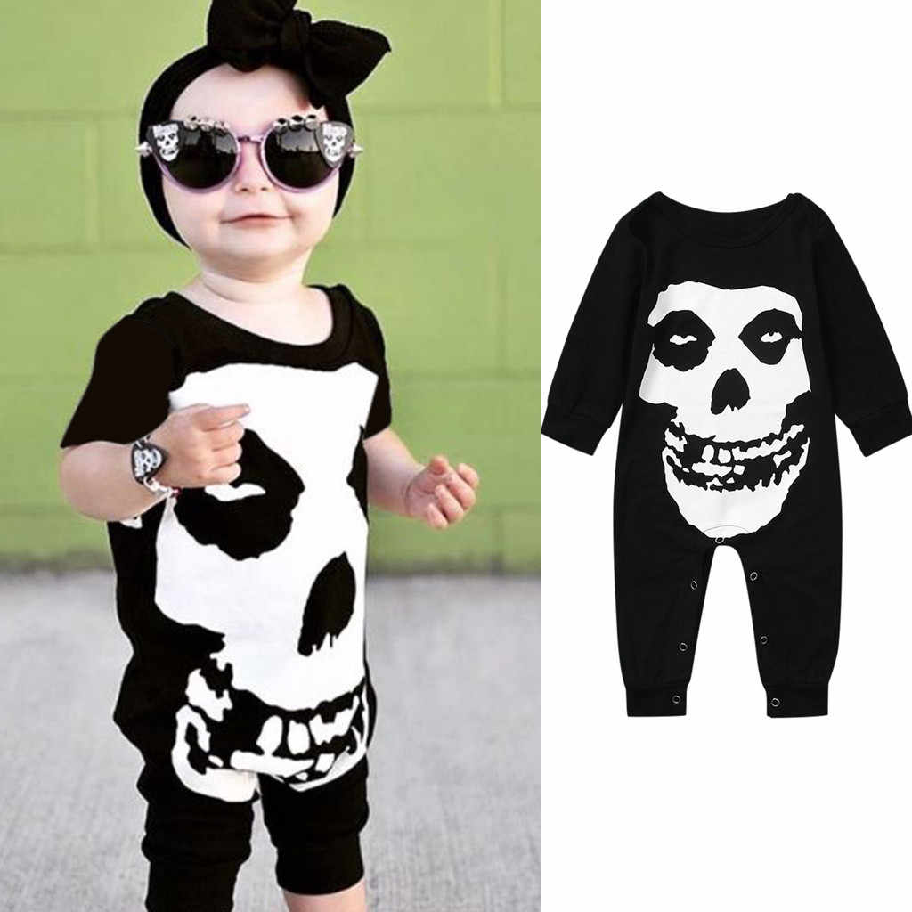 Huang Neeky #401 2019 FASHION Infant Baby Girl Boy Kids Halloween Printed Romper Jumpsuit Clothes Outfits cool design black hot
