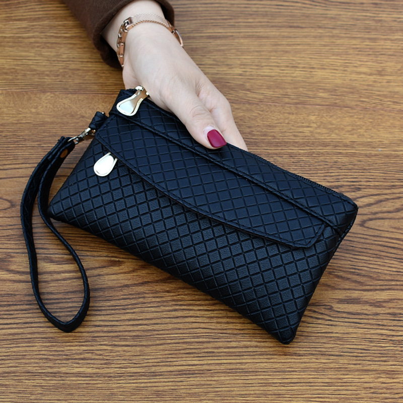 Clutch Organizer Wallet Women Organizer Purse Plaid Zipper Long Key Coin Bag Casual Women's Wallet Leather Genuine Money Bag