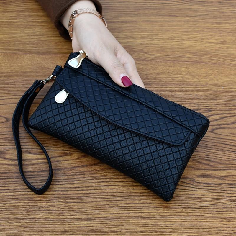 Clutch Organizer Wallet Women Organizer Purse Plaid Zipper Long Key Coin Bag Casual Women's Wallet Leather Genuine Money Bag