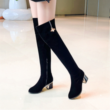 Plus Size 34-43 Faux Suede Slim Boots Sexy Over The Knee High Women Boots Women's Fashion Winter Thigh High Boots Shoes Woman jyrhenium 2018 new arrival big size 34 43 slim boots sexy over the knee high women fashion winter thigh high boots shoes woman