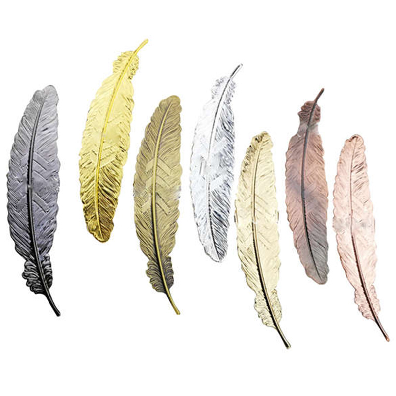 6 Pcs Vintage Feather Metal Bookmarks Bookmark For School Supplies Stationery Gift