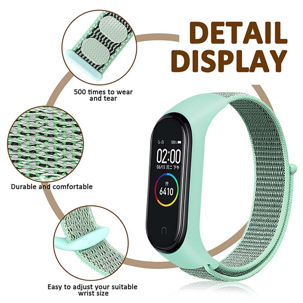 TEZER Colorful Strap Bracelet Accessories for Xiaomi Miband 3 Replacement Nylon Wriststrap Smart Wrist for Xiaomi Mi Band 4