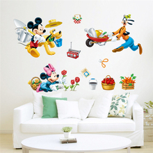 disney busy farm mickey minnie goofy pluto wall stickers for kids rooms home decor cartoon decals pvc mural art diy posters