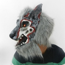 Halloween Party Men Women Cosplay Horror Full Wolf Head Mask Latex Animal Mask Theater Prop Toys Halloween Costume Cosplay latex wolf mask toy for halloween black