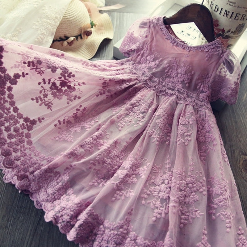 Girls Lace Flower Dress Wedding Ceremony Party Tulle Kids Dresses For Girls Princess Dress Summer Autumt Children Clothing 3-8T