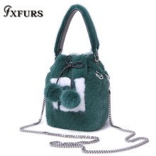 2019 New Genuine Fur Artisans Imported Whole Mink Ball with Bucket Bag Square Chain Crossboy Shoulder Female Winter Bags