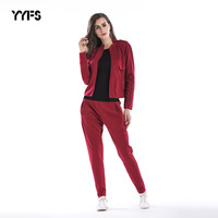 Fashion Shawl Collar Solid Red Black Color Casual Coat with Long Haren Pants Set Women Spring Autumn Streetwear Set 2 Piece Set