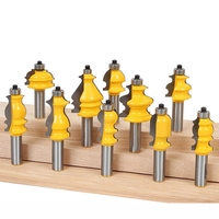ABSF 10Pcs 12mm Shank Architectural Molding Router Bits Set Casing Base CNC Line Woodworking Cutters Face Mill