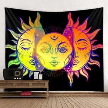 Tapiz de Mandala con cielo estrellado, tapiz de Luna, sol, Blanco, Negro, tapiz Hippie, decoración de dormitorio, tapiz psicodélico