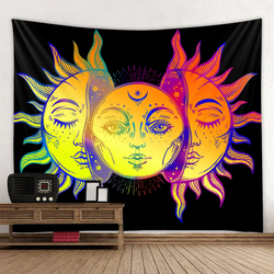Starry Sky Tapestry Mandala Tapestry Moon Sun White Black Tapestry Hippie Tapestry Bedroom Decoration Psychedelic Tapestry