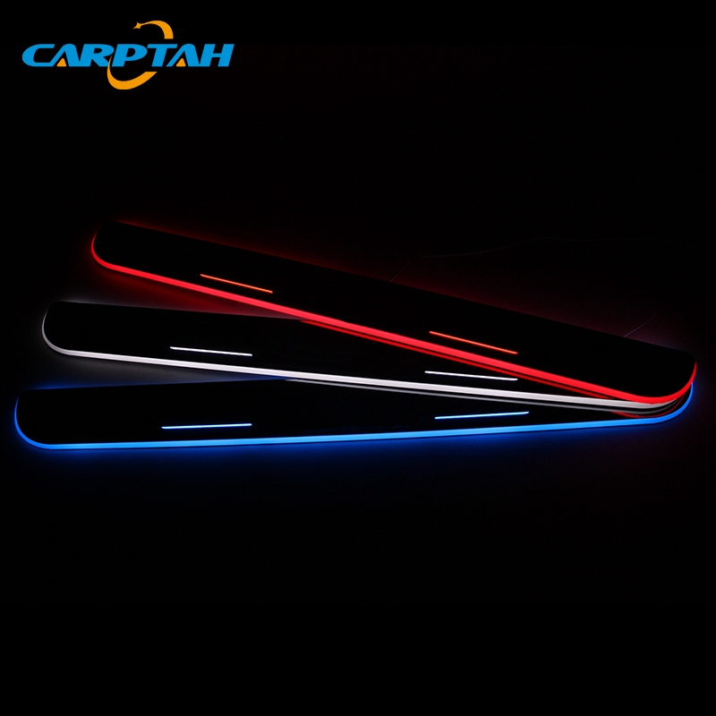 CARPTAH Trim Pedal Car Exterior Parts LED Door Sill Scuff Plate Pathway Dynamic Streamer light For Toyota Camry SE XSE 2018 2019