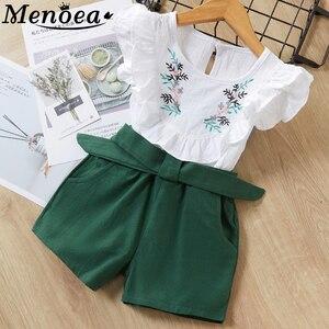 Menoea Summer Girls Clothing sets Children's clothing Girl Sleeveless T-shirt + Pant Fashion Style New Arrival Kids clothes(China)