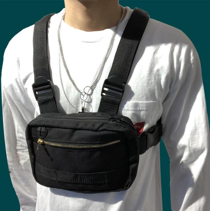 Fashion Hip Pop War Chest Bag Adjuatable Belt Oxford Cloth Casual Street Cosplay Chest Bag