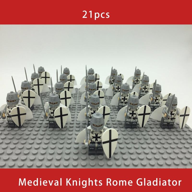 21PCS Medieval Knights Rome Gladiator Commander Caesar Soldier Roman Spartan Building Blocks Bricks Best Gift Baby Toys